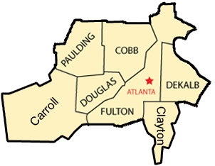 Service area for A-1 Waste & Rolloff Service in Douglasville, GA
